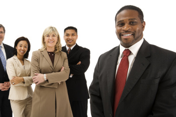 diverse people in business wear