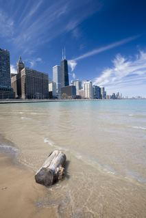 Chicago skyline from the beach